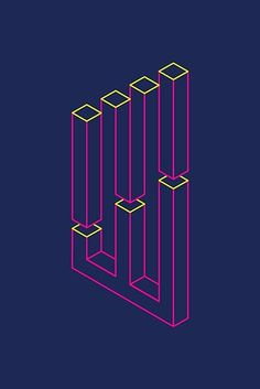 'Impossible Shapes: Columns' Poster by Jeff Merrick Illusion Drawings, 3d Drawings, Isometric Art, Isometric Design, Geometry Art, Sacred Geometry, Impossible Shapes, Art Optical, Optical Illusion Art