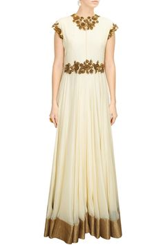 DECCAN DREAMS - Cream sequins and metal flower embellished flared long gown by Pranthi Reddy #new #designer #fashion #couture #shopnow #perniaspopupshop #happyshopping