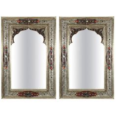 View this item and discover similar for sale at - Pair of Elegant Moroccan mirrors decorated with silvered repousse metal delicately engraved and wrapped with leather and amber color stones. The inside Moroccan Mirror, Moroccan Bathroom, Mirror House, Floor Mirror, Trumeau Mirror, Baroque Mirror, Mirror Mirror, Fireplace Mirror, Exotic Art