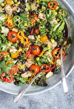 Southwestern Chicken Salad with Creamy Avocado Dressing