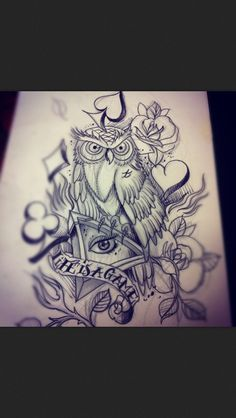 Life is a game. Owl. Eye. Tattoo
