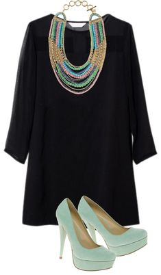 black dress, colored shoes and necklace