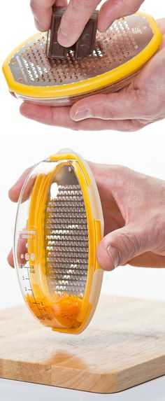 Grater pod! Clever kitchen gadget with a clear catcher shell ... and it turns chocolate into orange zest ha ha ha