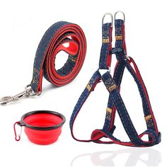 No-Pull Dog Leash Harness, Dog Rescue Harness,Adjustable and Heavy Duty Denim Dog Leash Collar for Training Walking Running, No-Pull Harness for Large/Medium/Small Dog ** Unbelievable dog item right here! : Collars, Harnesses and Leashes