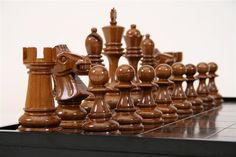 """MegaChess Teak Chess Set with an 8"""" King and MegaChess Solid Teak MegaBox with 4"""" Squares"""