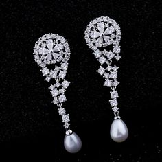 Find More Drop Earrings Information about Fancy Style Inverted Teardrop and Shell Pearl Dangle Earrings Silver Tone Flower Deco Round Star Cascading CZ Wedding Earrings,High Quality dangle earrings,China dangle earrings silver Suppliers, Cheap pearl dangle earrings from Dreamland Dresses & Accessories on Aliexpress.com