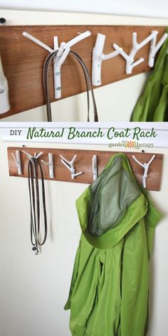 This inexpensive and easy weekend project shows you how to create a stylish branch coat rack with just some branches, paint, and a few tools.