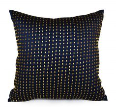 Decorative throw pillow in navy silk with gold sequin pillow cover. This beaded sequin pillow has unique subtle sparkling beads. Use this throw cushion cover in your home or gift it to someone for wed
