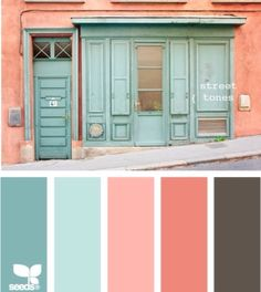 Color palette http://myhomelookbook.com/2013/02/12/color-palette-soft-coral-and-sea-foam-green-walls-the-lightest-teal-with-accent-pillows-and-decor-maybe-add-in-yellow-and-purple-too/