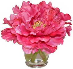 A simple hourglass vase holds a lifelike arrangement of pink peonies in full bloom.Michael Hansen, owner of The French Bee, has traveled the globe amassing a collection of the finest botanicals in. Peony Flower Arrangements, Artificial Floral Arrangements, Artificial Peonies, Silk Peonies, Beautiful Flowers Wallpapers, Pink Home Decor, Flower Wallpaper, Bloom, Hourglass
