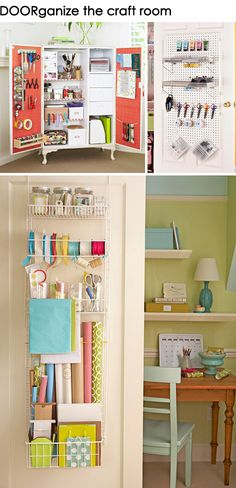 Clever Storage Closets: Craft Room and Office Organization Craft Organization, Craft Storage, Closet Organization, Pantry Door Organizer, Wrapping Paper Storage, Gift Wrapping, Space Crafts, Craft Space, Closet Storage