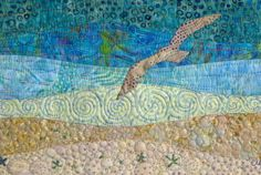 Landscape Quilt with Flying Seagull and Beaded Detail