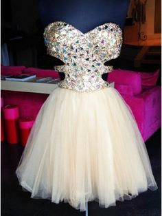 Stunning A-line Sparkle Short Beige Tulle Prom Dresses/Homecoming Dresses/Party Dresses/Cocktail Dresses #SIMIBridal #homecomingdresses