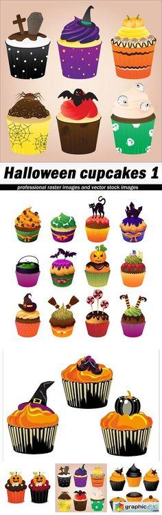 Halloween cupcakes 1 - 5 EPS