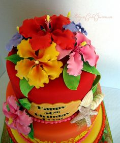 Luau Hibiscus by Elegant Cake Creations AZ, via Flickr ~ I LOVE LOVE LOVE this cake!!!