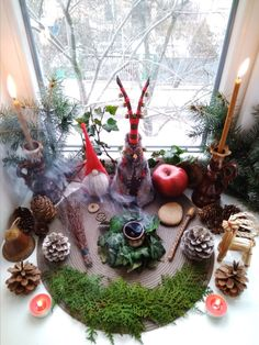 Yule altar for the Winter solstice - just beautiful Autel Wiccan, Wiccan Sabbats, Pagan Yule, Pagan Altar, Magick, Wiccan Decor, Pagan Witch, Paganism, Yule Decorations