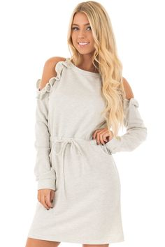 Lime Lush Boutique - Heather Grey Cold Shoulder Dress with Ruffle Details, $42.99 (https://www.limelush.com/heather-grey-cold-shoulder-dress-with-ruffle-details/)