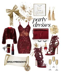 #PolyPresents: Party Dresses by yaya-stylez on Polyvore featuring polyvore, Mode, style, Calvin Klein 205W39NYC, Giuseppe Zanotti, Yves Saint Laurent, Aurélie Bidermann, Simply Vera, Bobbi Brown Cosmetics, Tom Ford, Oliver Gal Artist Co., Shishi, Nude, fashion, clothing, contestentry and polyPresents