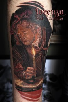 Gerrit Dou, Astronomer with candle, 1665, J. Paul Getty Museum, Los Angeles. Tattoo by Lorenzo Evil Machines, Roma - Italia