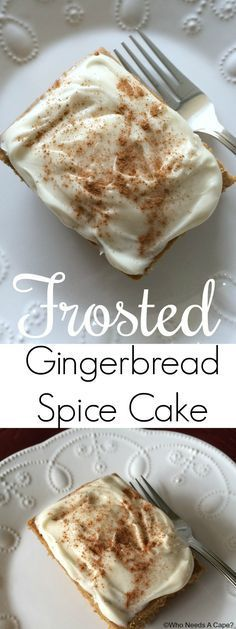 This Frosted Gingerbread Spice Cake is the perfect treat for the holiday season. With the lovely spices of gingerbread and cream cheese frosting, so good. #holiday #baking #holidaybaking #cake #dessert #christmas #frosting #icing #gingerbread #spice #christmas #holidayseason