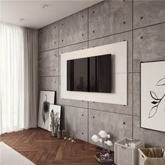 Langley Street Norloti Floating TV Stand for TVs up to 70 inches Color: White Stick On Wood Wall, Peel And Stick Wood, Vinyl Wall Panels, Wood Panel Walls, Wood Wall Paneling, Tv Wall Panel, Planked Walls, Brick Wall, Floating Tv Stand