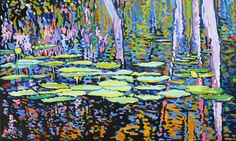 waterlilies reflection 60x36 inches acrylic on canvas by dragoslav milic