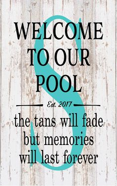 Housewarming Personalized Monogram Welcome To Our Pool Tan Fades Memories Last Forever Monogram Initial Outdoor Canvas Christmas Gift - pool decor Mini Pool, Pool Diy, Pool House Decor, Living Pool, Outdoor Living, Dream Pools, Pool Decks, Pool Landscaping, Backyard Pools