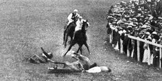Suffragette, Emily Davision throws herself infront of King George V's horse at the Epsom Derby of 1913. This horrifying spectacle attracted even more national attention to the Suffraggete movement and growing call for equal rights of women. Her injuries resulted in her death four days later thus becoming a martyr for the cause of Womens Suffrage. Some have suggested that she had not originally attempted suicide but simply to disrupt the race.