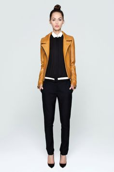 Work Mustard Leather Jacket White Collared Shirt Black Sweater Black Pants Black Heels