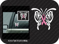 Breast cancer ribbon decal pink ribbon butterfly decal vinyl breast cancer awareness ribbon decal breast cancer pink ribbon butterfly decal by BeyondtheBlingUSA on Etsy https://www.etsy.com/listing/219195225/breast-cancer-ribbon-decal-pink-ribbon