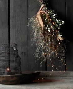 Large Tuft of Thyme, Holm Oak, LED String and Wabi Sabi Band - Herber . - Large Tuft of Thyme, Holm Oak, LED String and Wabi Sabi Band – HerbersLifestyle – Barefoot Conc - Natural Christmas, Christmas Mood, Little Christmas, Christmas 2017, Rustic Christmas, Christmas Wreaths, Merry Christmas, Christmas Decorations, Xmas