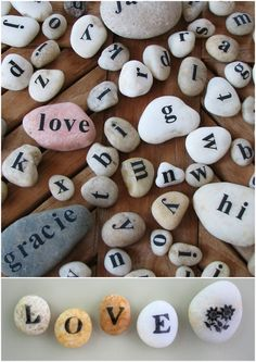 DIY Poetry Rocks and Pebbles. You can stamp them or use rub on decals. This would be another one of those gifts that kids could make or use. Tutorial for rub on decals (top photo) at The Write here.Tutorial for stamping the image here.*You can convert the pebbles and smaller rocks into magnets using really strong ones like these