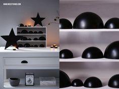 DIY: Adventskalender aus schwarz besprühten Kunststoffhalbkugeln in weiß lackierter Schublade