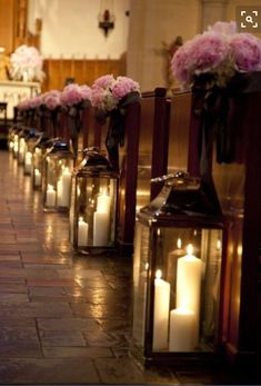 Church wedding aisle decor with flowers and big lanterns with candles Wedding Aisles, Our Wedding, Dream Wedding, Wedding Church, Trendy Wedding, Church Ceremony, Indoor Wedding, Church Weddings, Indoor Ceremony