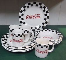 12 Pieces of Gibson Black Checker Border Red Coca-Cola 4 Plates Bowls & Mugs