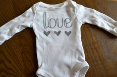 Hand Painted Love Onesie - Charcoal Grey and White Hand Painted Onesie on Etsy, $12.00