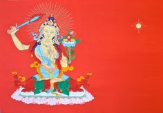 Manjushri, original art!  100% Pure silk and hand stitched Stretched on a wooden frame Measures 90cmx62cm  Free shipping! Only 1 available  Silk applique thangka is a highly renowned form of Tibetan Buddhist art. Monasteries, practitioners and individuals buy this style of thangka for the beauty, quality and deep meaning of the art form. Traditionally silk thangkas are held in high esteem due to the time consuming nature of hand stitching and embroidery, they are versatile and not…