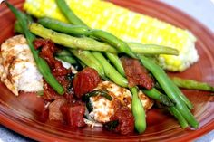 Fannetaastic Food Easty Chicken with Canned Tomatoes with Basil, Fresh Herbs and Green Beans