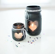 Chalkboard Paint Votives - Heart Jars for Valentine's Day - Valentine Mason Jar Craft - Heart Mason Jar