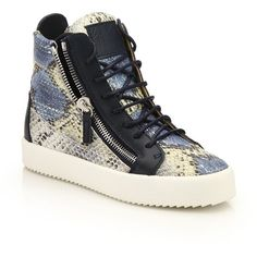Giuseppe Zanotti Snake-Embossed Leather High-Top Zip Sneakers ($775) ❤ liked on Polyvore featuring shoes, sneakers, apparel & accessories, multi, leather platform sneakers, leather high tops, high top platform sneakers, leather shoes and leather hi top sneakers