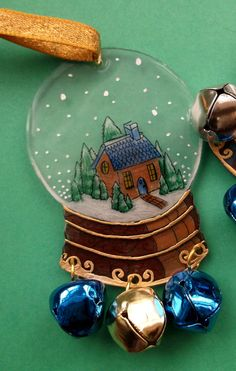 Shrink plastic Christmas Decoration snowglobe cottage