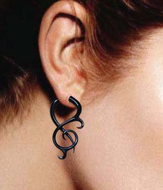 Fake Gauge Earrings  Black Horn Thistle Twists by PrimalOriginals, $23.00