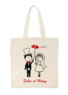 Tote Bag Personnalisé Mariés - Ce charmant tote bag mariage à personnaliser sera le cadeau idéal pour vos invités et/ou vos témoins. Et en plus il est à petit prix !