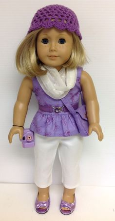 CLOTHES FIT AMERICAN GIRL DOLL-8PC PEPLUM, CAPRIS, CROCHETED HAT, PURSE & SHOES