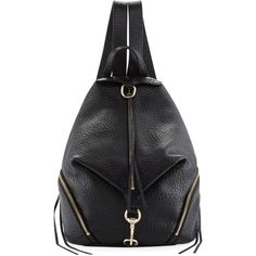 Rebecca Minkoff Julian Large Leather Backpack ($295) ❤ liked on Polyvore featuring bags, backpacks, black, leather rucksack, leather zipper backpack, zip top bag, backpack bags and leather zip backpack