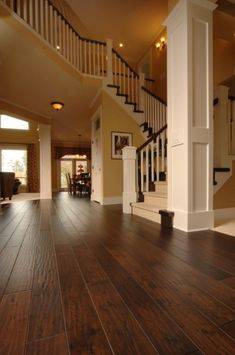 Beautiful handscraped engineered hardwood floors by JustLinnea Hardwood Flooring Ideas - CLICK THE PIC for Many Wood Flooring Ideas. Wood Floor Design, Future House, My House, Dark Hardwood, Distressed Hardwood Floors, Engineered Hardwood Flooring, Wooden Flooring, Tile Flooring, Wide Plank Laminate Flooring