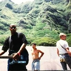 Layne Staley on the right & John Bigham of Fishbone playing guitar. August 1993 in Hawaii.