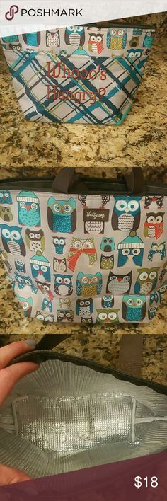 Thirty-one Owl lunch tote Incredibly cute retired print.  Whoo's Hungry embroidered on front pocket. Zip top Bags Totes