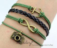 Anchor braceletAntique bronze Infinity braceletCamera by vividiy, $4.59