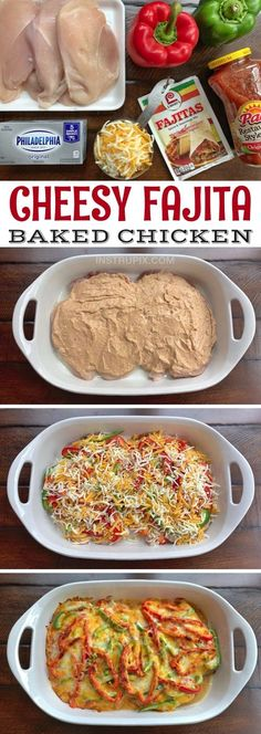 Low Carb Cheesy Fajita Baked Chicken Recipe -- A quick and easy dinner recipe for the family! It's cheap, simple, healthy and family friendly. Made with cream cheese, salsa and fajita seasoning. Low Carb Recipes, Cooking Recipes, Healthy Recipes, Old Recipes, Quick Recipes, Pasta Recipes, Delicious Recipes, I Love Food, Family Meals